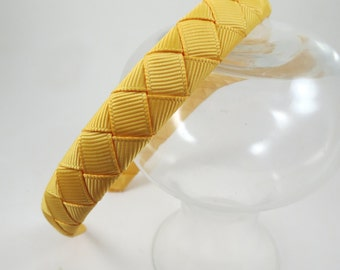 Gold Headband - Light Gold Headband - Hard Headband - Plastic Headband - Ribbon Woven Headband - Child Toddler Teenager Adult Headband