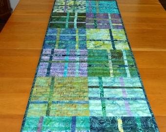 Contemporary Table Runner in Batiks