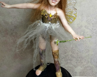 Ariel, OOAK Hand Sculpted Fantasy Fairy Art Doll Collectible