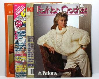 Crochet Magazines, Set of 3 Vintage Magazines and 1 Leaflet, Classic Crochet Designs, Crochet Sweater Patterns, Crochet Beachwear Patterns