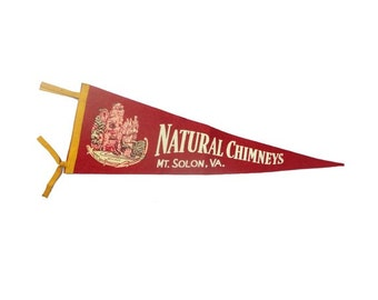 CLEARANCE Antique Virginia Pennant - Vintage Felt Natural Chimneys Banner, Vintage Vacation Souvenir, Historical Memorabilia, Mt. Solon VA