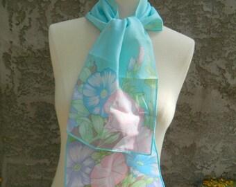 Avon Floral Head Scarf / Vintage Flower Scarf / Light Blue, Teal, Purple, Pink and Green Rectangular Skinny Scarf