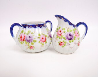 Vintage Cobalt Flow Blue Floral Sugar Creamer Gold Leaf Accents Dresden Style Translucent Porcelain