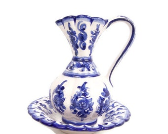 Vintage Portugal Pitcher Bowl Cobalt Blue Flow Blue Blue and White Ewer Basin Wine Carafe Chamber Pot Vanity Décor Decanter