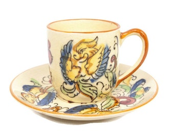 Vintage Japan Bird Demitasse Teacup Saucer Yellow Bird Tea Cup Made in Japan