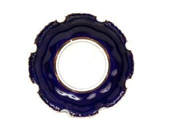 Dresden Bowl Cobalt Blue Gold Cut Out Edges Art Nouveau Scalloped Cut Rim Serving Dish Hand Painted German