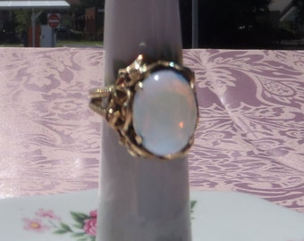 1930's Czechoslovakia,Pure Brass Ring with Opalescent Glass Stone