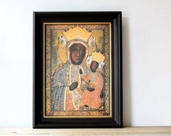 Our Lady of Czestochowa vintage framed print / Black Madonna / Polish Madonna print / framed religious icon wall decor / Christian religion