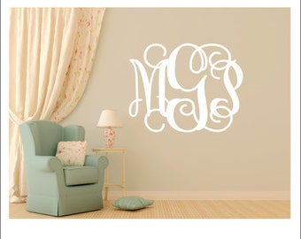 Monogram Wall Decal Vinyl Wall Decal Vinyl Monogram Preppy Monogram Girls Bedroom Decal Nursery Monogram Vinyl Wall Decal Personalized Decal