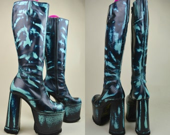 90s Clubkid Cyber Goth Rare Luichiny Turquoise Blue Distressed Rub Off Mega Chunky Huge Knee High Platform Boots UK 4 / US 6.5 / EU 37