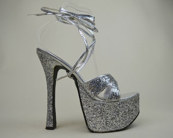 90s Silver Glitter Mega High Heel Wrap Around Criss Cross Leg Straps Open Toe Platform Pole Dancing Heels Shoes UK 6 / US 8.5 / EU 39