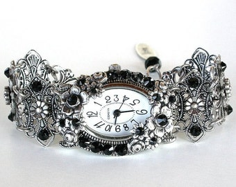 Swarovski Watch Black Crystal Bracelet Watch Unique Women Watches Silver Watch Victorian Gothic Watch Ladies Beaded Watch Gift for Women