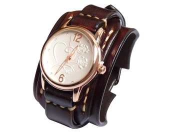 Vintage Womens Watches, Vintage Leather Watch, Dark Brown Leather Watch