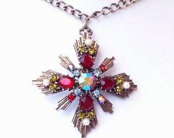 Coro Rhinestone Cross Pendant Necklace Victorian Revival