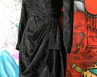 THE little black dress , vintage handmade Silk Chiffon pleated beautiful little dress