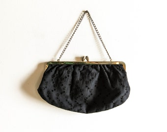 Vintage black eyelet fabric clutch with chain handle, vintage black fabric purse, black eyelet fabric purse, fabric clutch black