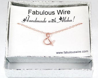 Ampersand Symbol Necklace, Rose Gold Filled Wire And Sign Necklace, Minimalist Jewelry, Layering Necklace, Wedding Birthday Gift