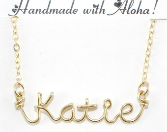 Gold Wire Name Necklace, Personalized Name Jewelry, Custom Made Wire Writing Necklace, Sister, Friend, Bridesmaid Gift