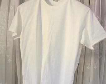 Vintage 90's men's Geoffrey Beene white cotton tee shirt L