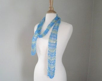 Long Knit Scarf, Blue & Green Stripes, Silky Cotton, Summer, Net Lace, Great gift