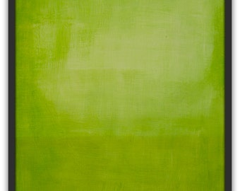 "Abstract minimalism painting Titled 'Green Field' by Victoria Kloch, green color field,  acrylic on canvas un-stretched  21"" x 27"""