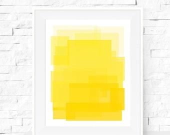 Yellow Ombre Art Print - Modern Minimalist - Abstract Print - Home Decor - Kids Decor - Nursery