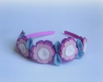 Girls headband light antique pink flower handmade headband old rose crown baby girl hair accessory hair band flowers felted hair easter fun
