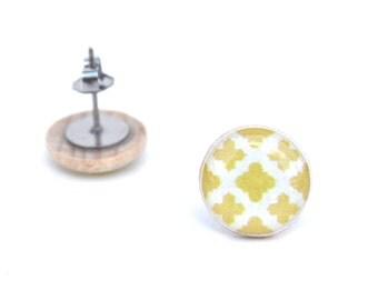 Yellow geometric wood stud earrings Yellow studs wood studs gift for her mom gift girlfriend gift starlightwoods