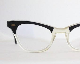 Vintage 50's Black Horn Cat Eye Eyeglasses Frames - See Details