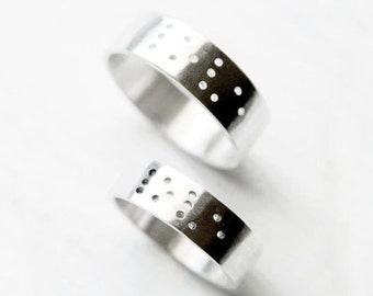 love - braille promise rings // promise rings // promise ring set // couple jewelry // couples rings // couples jewelry // anniversary rings