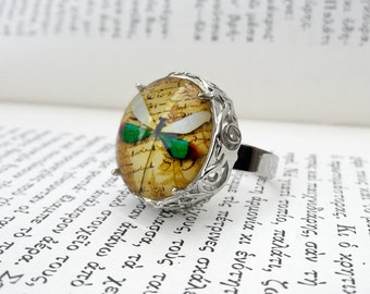 Gothic Ring / Dragonfly Ring / Statement Ring / Victorian Ring / Photo Glass Ring / Art Deco Ring / Victorian Gothic Jewelry