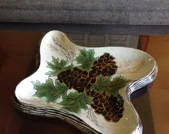 Handmade Winter Foliage Mid-Century Serving Dish