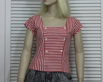 Vintage Blouse Red Striped 1980s Nautical