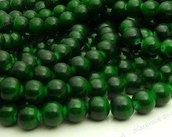 10mm Two Tone Dark Green Glass Beads - Smooth, Shiny, Round Beads - 20pcs - BN19