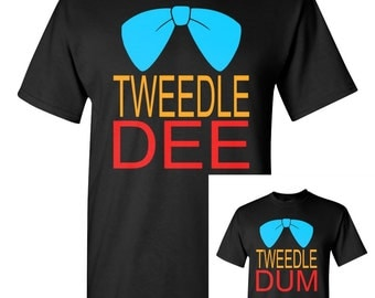 Tweedle Dee ~ Tweedle Dum ~ Alice in Wonderland ~ Couple ~ Friends ~ Best Friends ~ Costume ~ Tshirt ~ Tshirt Set