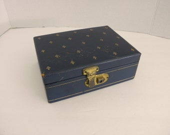 RESERVED Navy Blue & Gold Leather Jewelry Box