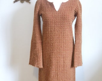 vintage 90s Agnes B rust burned orange woollen dress size M