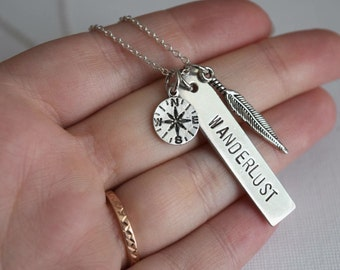 wanderlust necklace, compass necklace, travel jewelry, inspirational necklace, compass necklace, gift for her, graduation gift, birthday