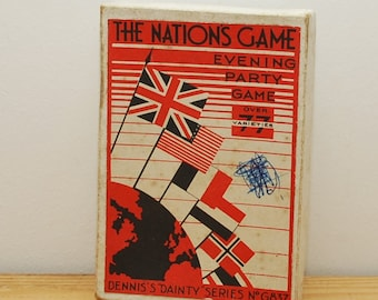 SALE! The Nations Game, vintage card game, Dennis Dainty Series G837, 1930 evening dinner party game