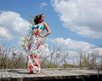 Vintage high waist maxi skirt, white colorful boho, bright rainbow floral, mod retro 1960s 1970s M L SALE