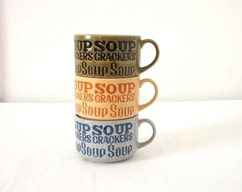 Three Vintage  Soup or Coffee Mugs / 70s Stoneware
