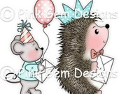 Digi Stamp  'Party Time' - Birthday, Cute Hedgehog & Mouse