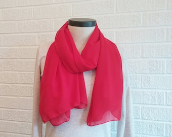 Red Chiffon Scarf, Rectangle Scarf, Lipstick Red Accessory, FREE SHIPPING, Breezy Scarf