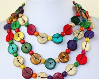 Ethnic Coconut Shell Necklace. Handmade. Extra Long Length Lariat. Colorful Coco Wood Beads. Multi Color Necklace.  MapenziGems CN05