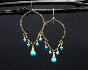 Made To Order Gold Turquoise Earrings - Gold Turquoise Dangle Earrings - Gold Genuine Turquoise Stone Earrings Handmade By ©The Gem Gypsy