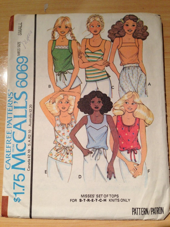 McCalls Sewing Pattern 6069 Misses Set of Tops- For Stretch Knits Size 10-12 70s