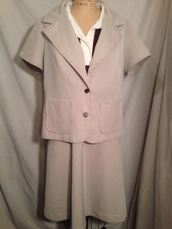 Vintage 70s Woman's Dress and Blazer Sears Fashions Size 22 1/2 t10