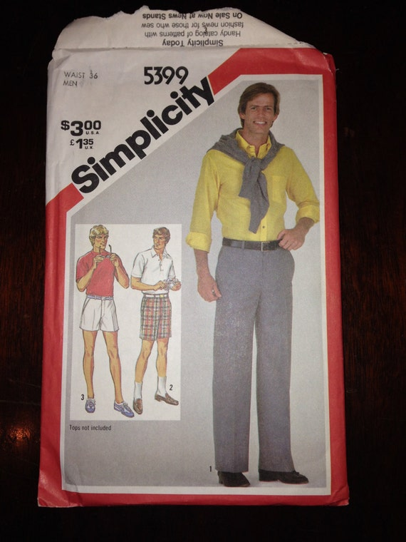Simplicity 80s 5399 Sewing Pattern Uncut Mens Fuss-Free Fit Pants in Two Lengths and Shorts Waist 36
