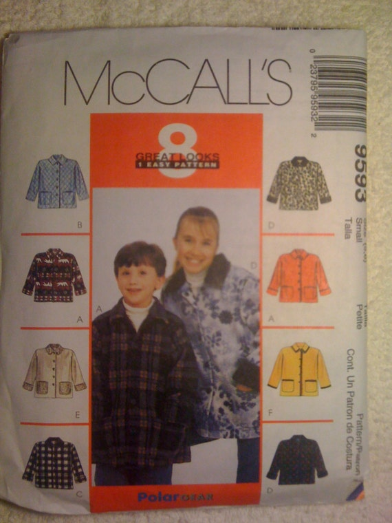 McCalls Sewing Pattern 9593 90s Children's, Boy's and Girl's Unisex Unlined Jacket Size 5-6