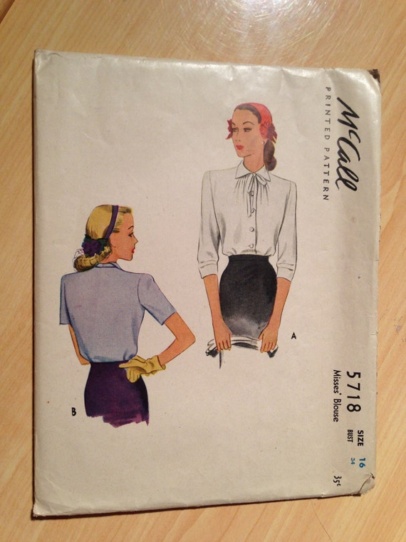McCalls 5718 40s Sewing Pattern Misses Blouse Size 16